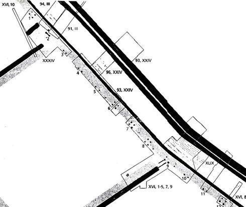 Plan des fouilles sur la contrevallation de la plaine des Laumes. 2 à 4 trous de poteaux matérialisent l'emplacement des tours numérotées de 1 à 12. Crédit: Fouilles franco-allemandes (1991-1997).