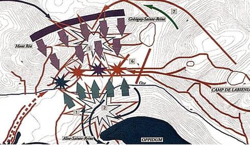 Plan de l'attaque du camp Nord à Alise-Sainte-Reine. Crédit C. Grapin, P. Guillou.