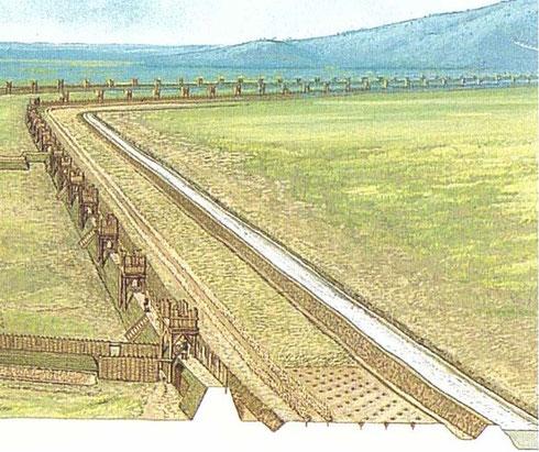 Système de défense sur la contrevallation de la plaine des Laumes. Crédit: Peter Connoly.