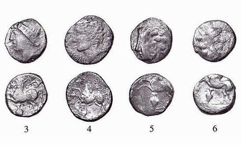 Types LT XII, 3775 (3). LT XII, 3778 (4). LT XII, 3755 D/, 3758 R/ (5 & 6). Crédit: B. Fischer, K. Gruel. Fouilles franco-allemandes (1991-1997).