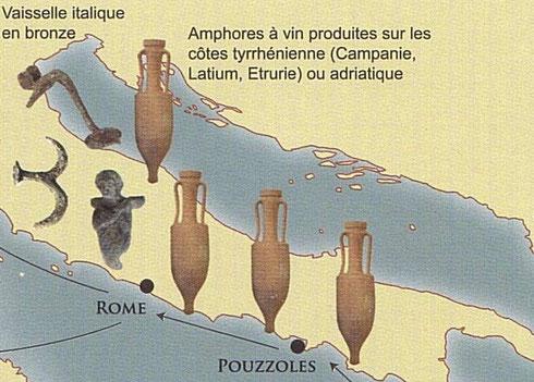 Lieux de production des amphores vinaires italiques type Dressel. Crédit: M. Poux.