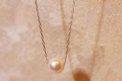 K18WGアコヤ真珠ネックレス画像