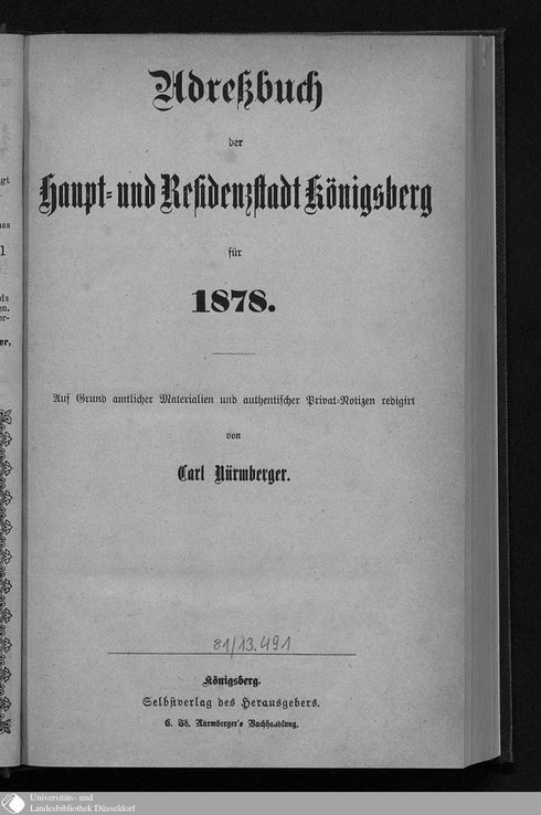 Adressbuch Königsberg 1878