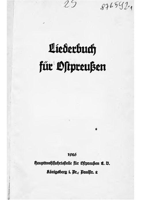 Liederbuch für Ostpreußen 1926