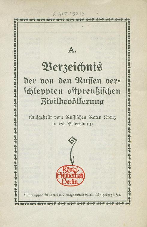 Verzeichnis der verschleppten ostpreußischen Zivilbevölkerung 1915
