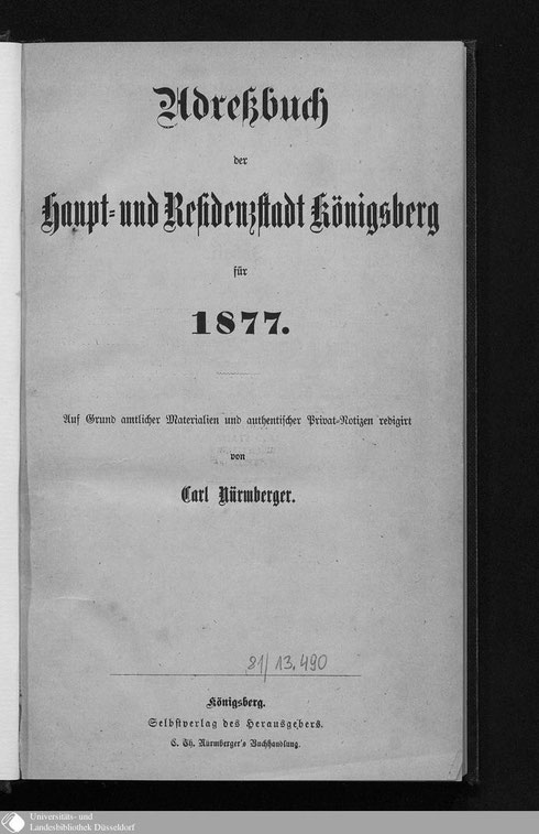Adressbuch Königsberg 1877