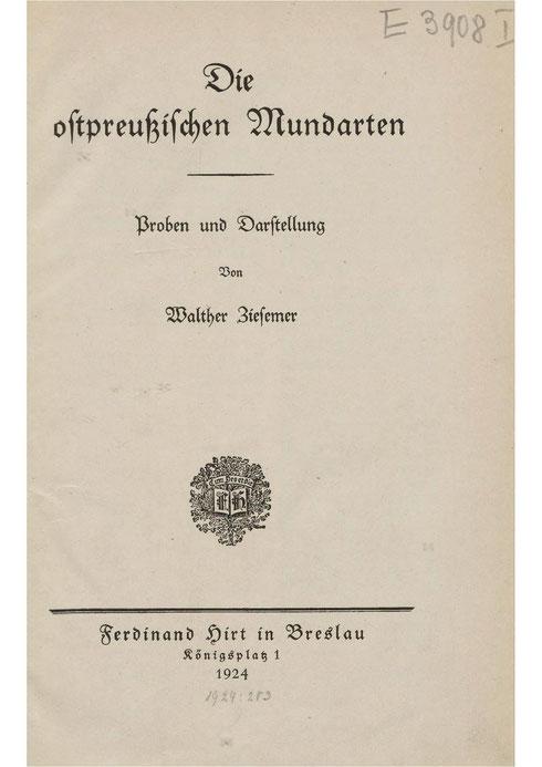 Mundarten -Ostpreußen 1924-