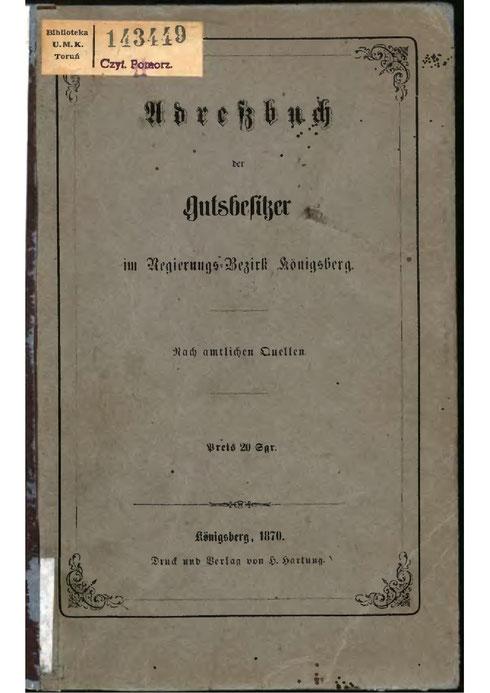 Gutsbesitzer Adressbuch Ostpreußen von 1870