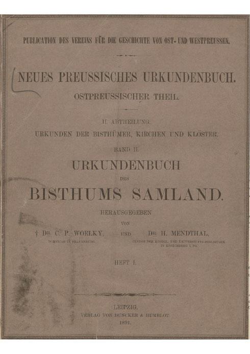 Urkundenbuch des Bisthums Samland -1-