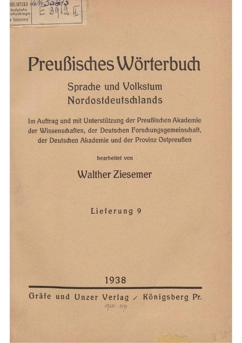 Preußisches Wörterbuch 1938
