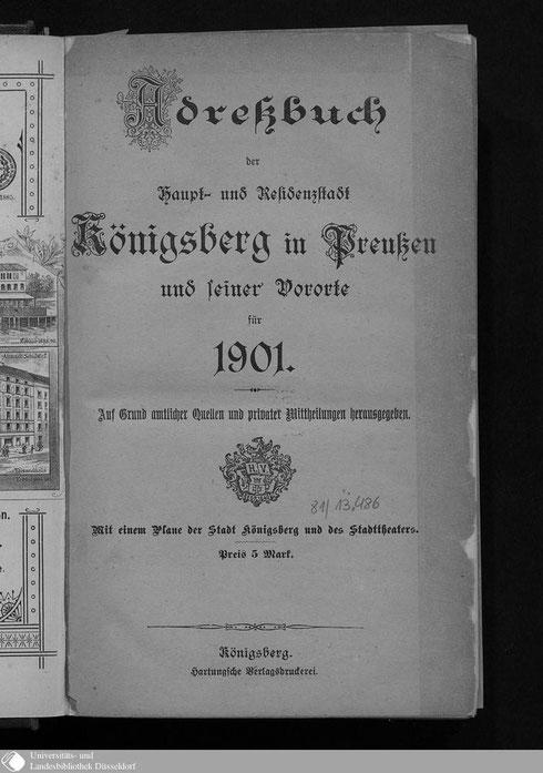Adressbuch Königsberg und seiner Vororte 1901