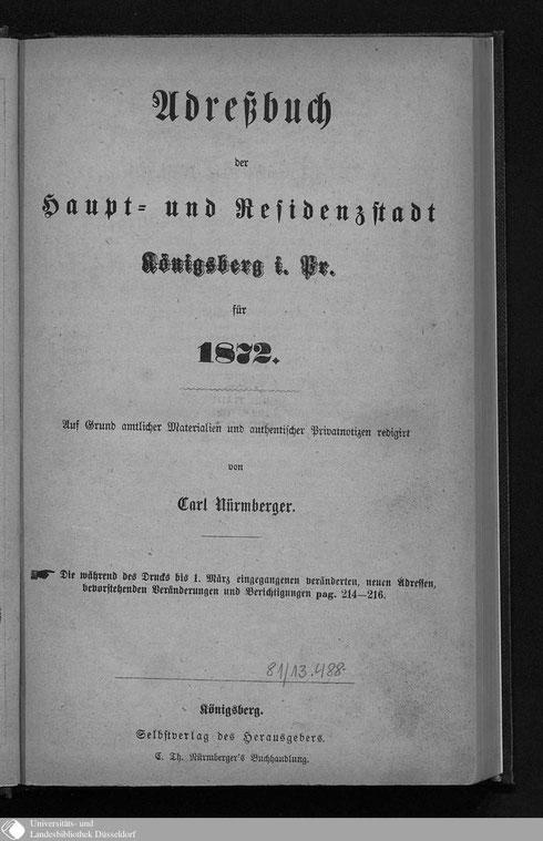 Adressbuch Königsberg 1872
