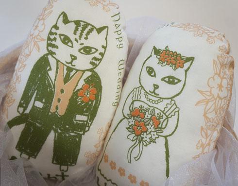 猫夫婦のウェルカムドール/ハワイ風ハイビスカス