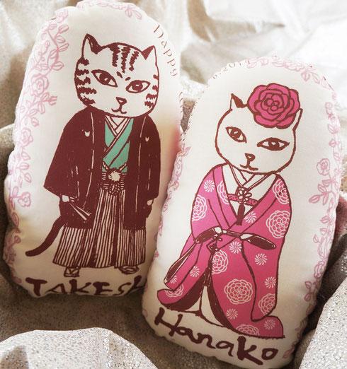 猫夫婦のウェルカムドール、和装