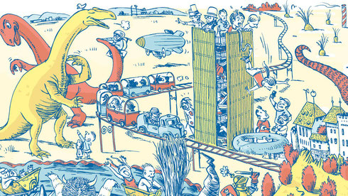 Bildausschnitt aus dem Aargau Wimmelbuch von Julien Gründisch, Copyright: Verlag vatter&vatter AG, Bezugsquellen: Radio Argovia und in jeder Buchhandlung