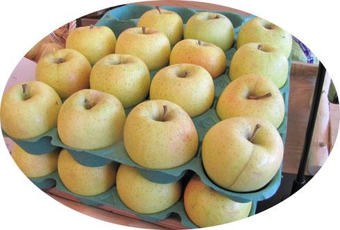 りんごが棚に並んだ画像です。