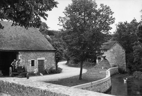 FRANCE. Bourgogne (Burgundy). Côte-d'Or. Billy-les-Chanceaux. 1955. The Seine river