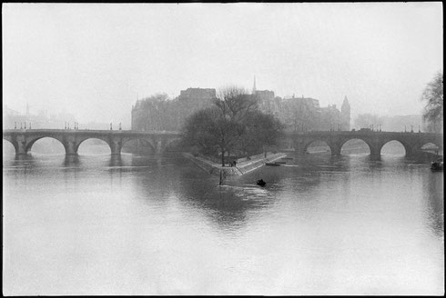 FRANCE. Paris. Ile de la Cité. Square of the Vert Galant and Pont-Neuf. 1951.