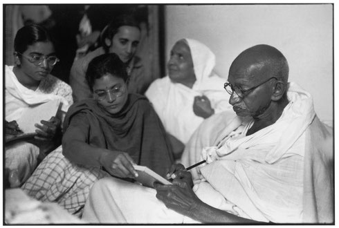 INDIA. Delhi. Birla House. 1948. GANDHI dictates a message, just before breaking his fast