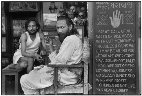 INDIA. Maharashtra. Bombay. 1947. An astrologer's shop in the mill workers' quarter of Parel