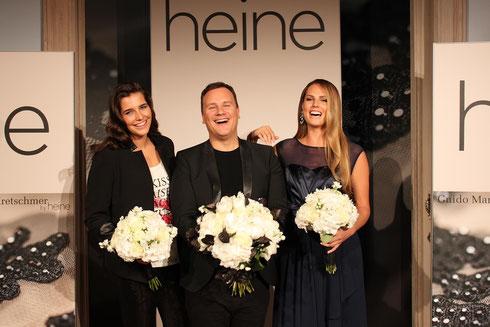 Guido Maria Kretschmer mit seinen Models Veronika Nagyova und Alex Underwood