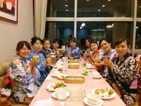 岐阜県下呂市 あゆみキモノ学院 ゆかた会乾杯