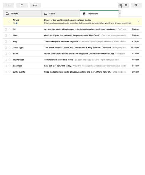 Gmail Werbeordner in der Standardansicht