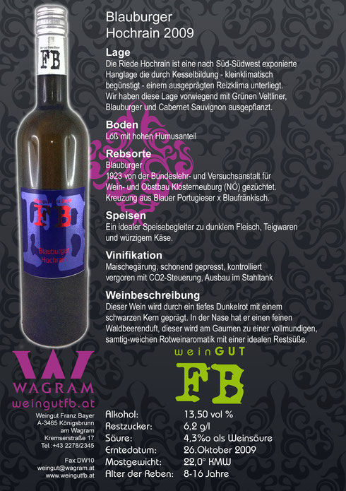 Blauburger Hochrain Weingut Franz Bayer Königsbrunn am Wagram