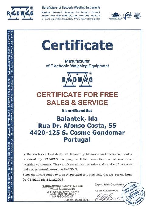 Certificação Radwag