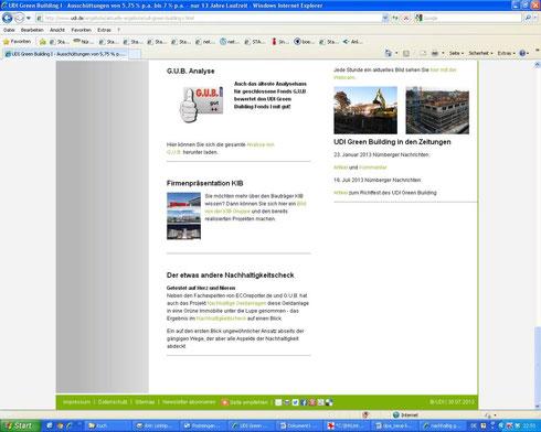 """Das Unternehmen UDI hat unseren Nachhaltigkeits-Check über ihr Beteiligungsangebot """"UDI Green Building I"""" sogar auf ihre Firmen-Homepage übernommen - gleichberechtigt neben den Fachexpertisen von ECOreporter.de und G.U.B.!!! (Screenshot vom 30.07.2013)"""