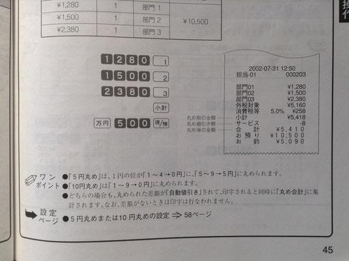 まるめの詳細は取扱い説明書の45頁、設定方法は58頁