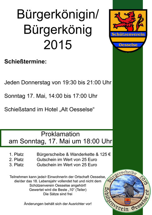 Werden Sie Bürgerkönigin/Bürgerkönig 2015!