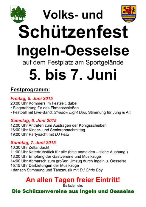 Programm Volks- und Schützenfest 2015 in Ingeln-Oesselse