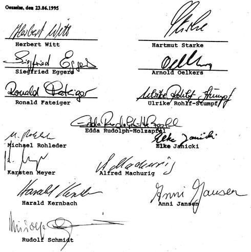 Unterschriften Satzung SV Oesselse