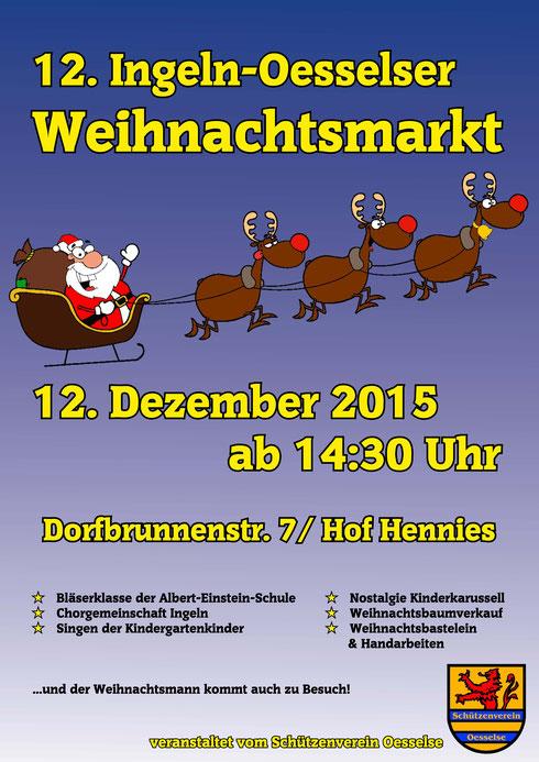 Plakat vom 12. Weihnachtsmarkt 2015 in Ingeln-Oesselse