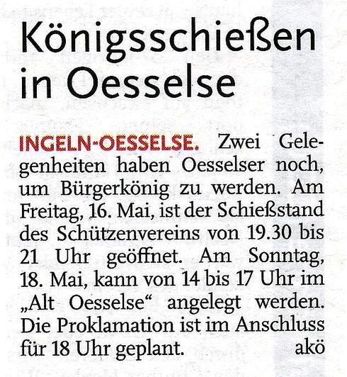 Schützenverein Oesselse, Bericht, Leine-Nachrichten, 2014, SV Oesselse