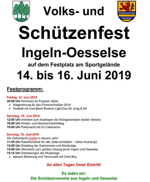 Festprogramm: Volks- und Schützenfest in Ingeln-Oesselse 2019