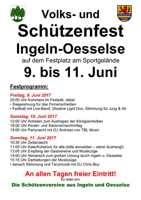 Plakat vom Volks- und Schützenfest 2017 in Ingeln-Oesselse