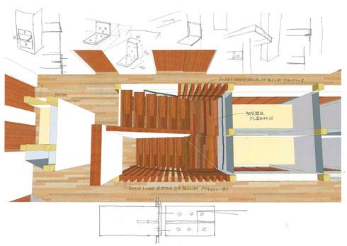 計画当初に作成した階段パースと納まりのスケッチ