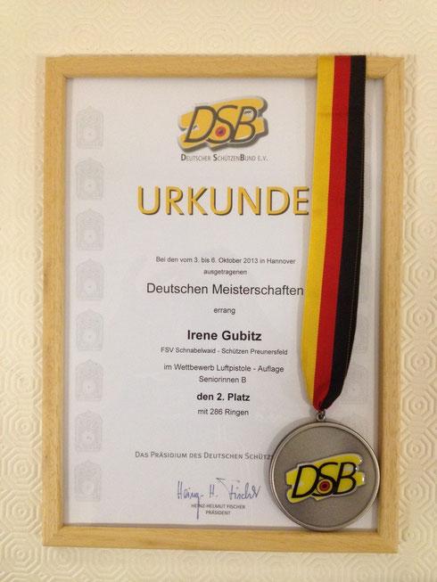 Irene Gubitz - Deutsche Vizemeisterin 2012/2013 + 2014/2015