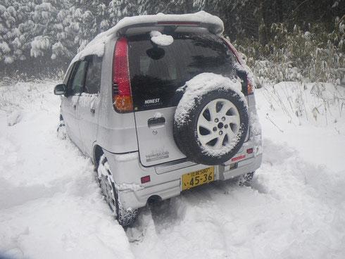 林道分岐の雪30cm?