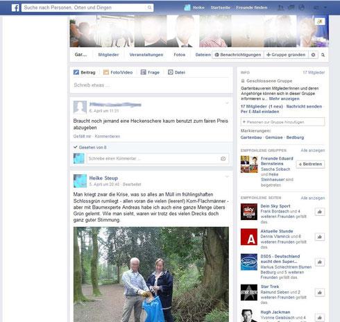 facebook Gruppe des Gartenbauvereins Bedburg
