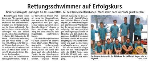 Isenhagener Kreisblatt berichtet auch von der Bezirksmeisterschaft in Salzgitter