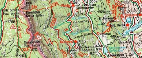 Ein Ausschnitt aus der digitalen Südtirol-Karte von Kompass