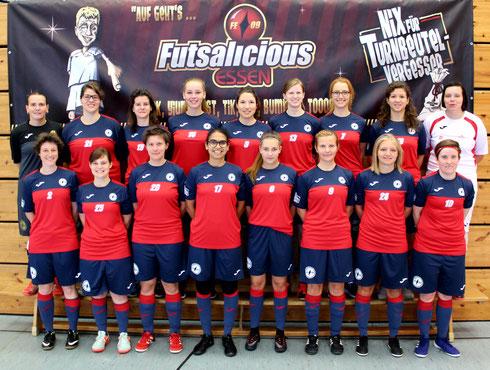 "Unsere ""Futsalicious Essen Ladies"" beim WDFV Frauen-Futsal-Pokalfinale am 17.06.2017 in Essen (Foto: Kristoff Gött)"