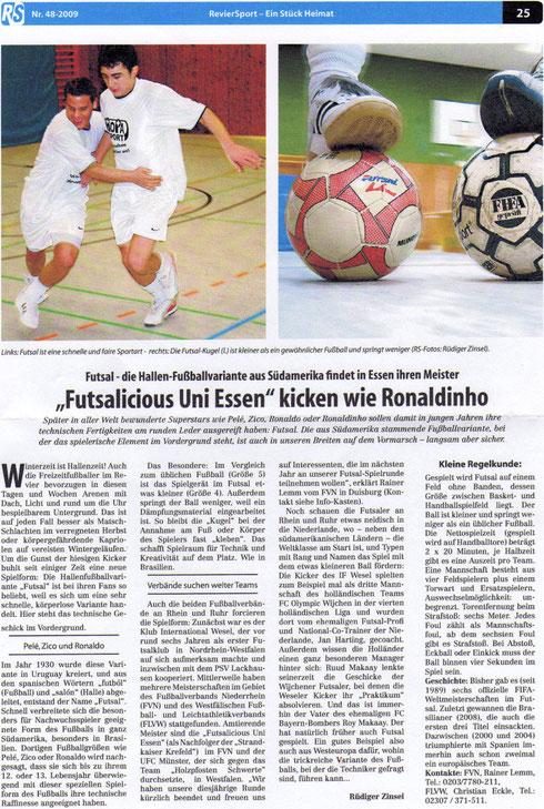 Futsalicious Essen e.V. Artikel im RevierSport Nr. 48/2009, S. 25 von Rüdiger Zinsel