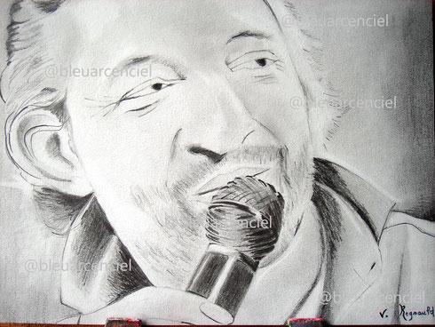 2012 Serge Gainsbourg, Dessin au crayon sur feuille canson 24/32 cm