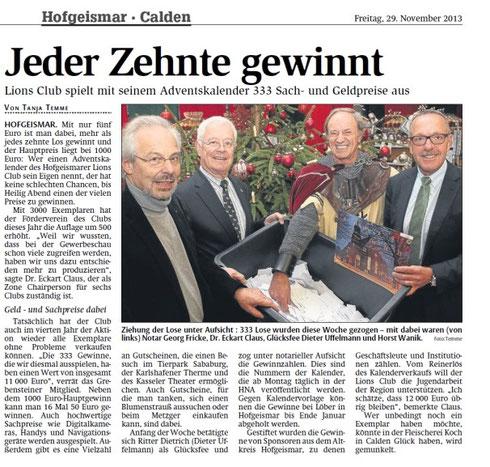HNA - Ausgabe Hofgeismar, 29.11.13