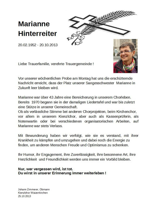 Nachruf für Marianne Hinterreiter