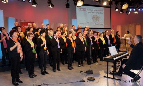 1. Feb. 2018, ORF Landesstudio OÖ - Der Kienzlchor beim Finale der Aufweckchöre